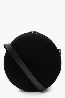 boohoo Suedette Structured Round Drum Cross Body