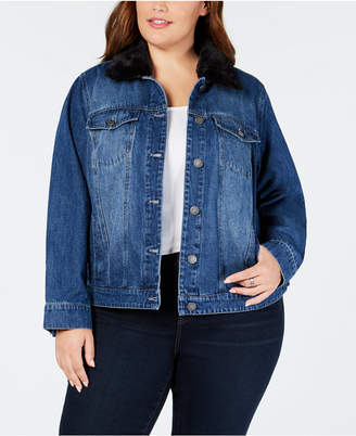 Style&Co. Style & Co Plus Size Faux-Fur Collar Denim Jacket, Created for Macy's