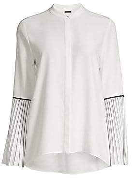 d874ca1fd60f Elie Tahari Women s Frida Pleated-Sleeve Silk Blouse