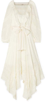 Zimmermann Hanky Lace-trimmed Swiss-dot Silk-georgette Dress - White