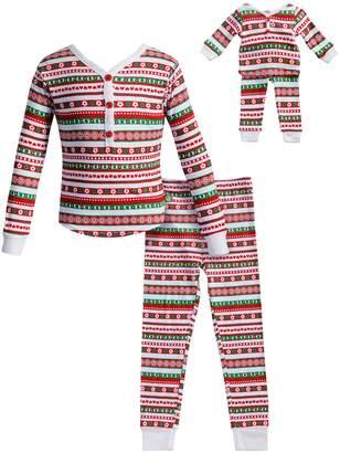 Dollie & Me Girls 4-14 Striped Henley Top & Bottoms Pajama Set