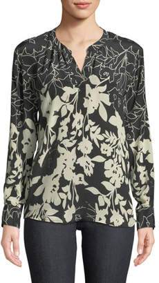 Tolani Everly Long-Sleeve Floral-Print Silk Blouse