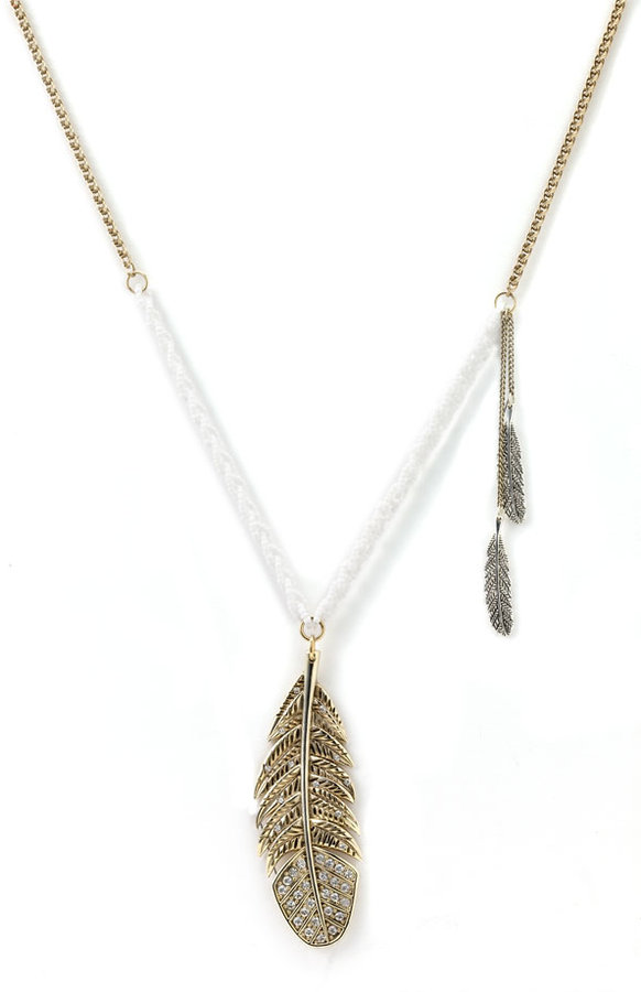Betsey Johnson Feather Pendant Necklace