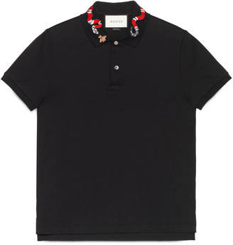Cotton polo with snake embroidery $690 thestylecure.com