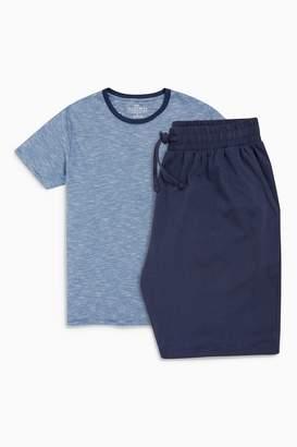Next Mens Blue Fine Stripe Jersey Short Set