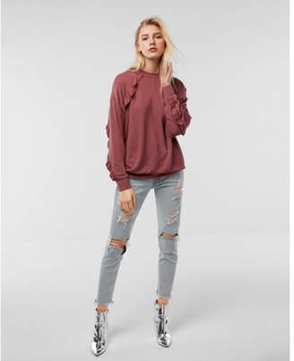 Express one eleven oversized ruffle sweatshirt