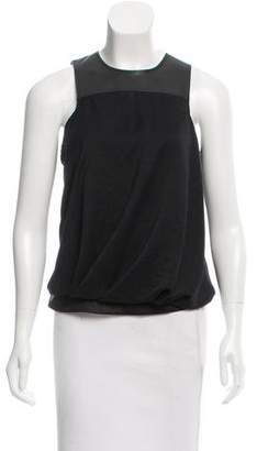 Helmut Lang Leather-Accented Sleeveless Top