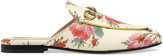 Gucci Women's Princetown Floral Leather Slippers