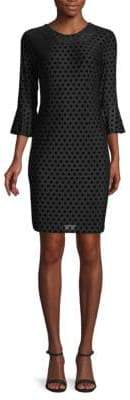 Velvet Polka Dot Sheath Dress