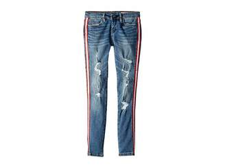 Blank NYC Kids Denim Skinny with Navy Zipper Detail on the Side of Leg in Jersey Girls (Big Kids)
