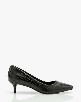Le Château Croco Embossed Pointy Toe Kitten Heel Pump