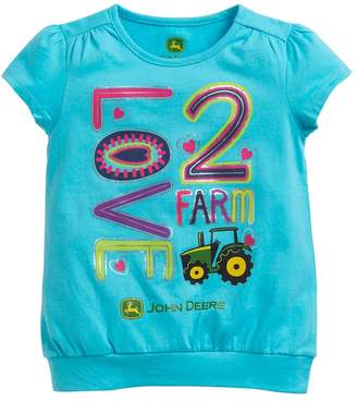 "John Deere Girls 4-6x Love 2 Farm"" Graphic Tee"