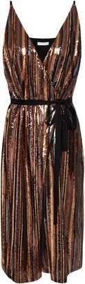Robert Rodriguez Wrap-effect Sequined Striped Woven Dress