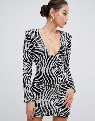 Missguided sequin mini dress with shoulder pads in zebra