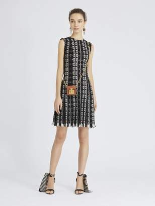 Oscar de la Renta Sequin Stripes Tweed Cocktail Dress