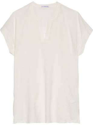 James Perse - Cotton And Linen-blend T-shirt - Off-white $145 thestylecure.com