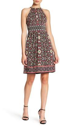 London Times Tapestry Keyhole Halter Dress (Petite)