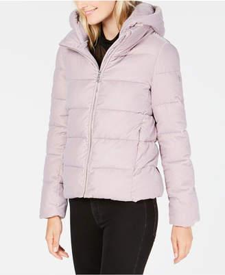 Calvin Klein Hooded Velvet Puffer Coat
