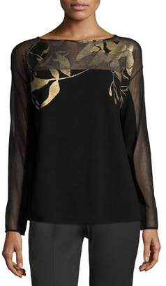 Lafayette 148 New York Semisheer Bateau-Neck Jacquard Lace Sweater, Black/Gold