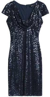 Badgley Mischka Sequined Mesh Dress