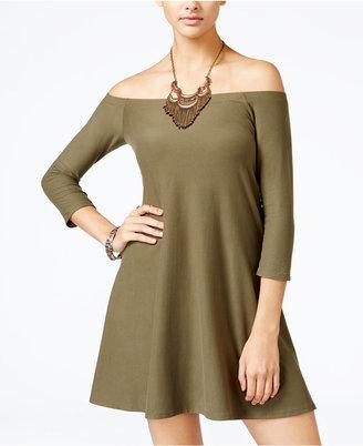 Planet Gold Juniors' Off-The-Shoulder Swing Dress $39 thestylecure.com