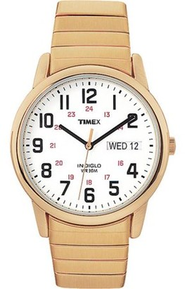 Timex T2N0929J Mens Easy Reader Gold Tone Extra Long Stainless Steel Expansion Band Watch
