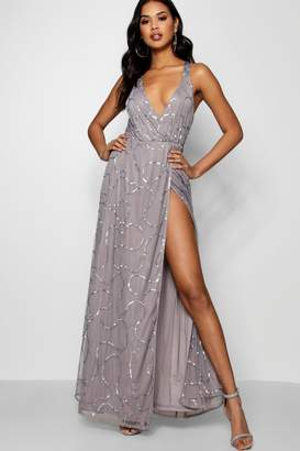 boohoo Tall Boutique Wrap Sequin Maxi Dress