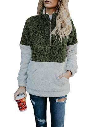 b9b21593694 Tasatific Womens Sherpa Fleece Pullover Coat Sweatshirt Outwear Tops with  Pocket M