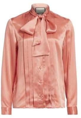 Gucci Silk Tie-Neck Blouse