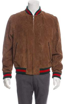 Gucci Web-Accented Suede Bomber Jacket