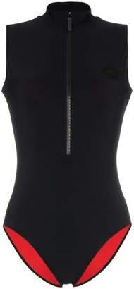 Burberry Wawoi high neck zip rubber logo swimsuit