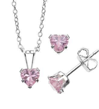 Swarovski Charming Girl Sterling Silver Pink Cubic Zirconia Heart Pendant Necklace & Stud Earring Set - Made with Zirconia - Kids