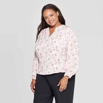 Ava & Viv Women's Plus Size Floral Print Long Sleeve V-Neck Popover Top