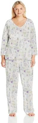 Carole Hochman Women's Plus Size 3/4 Sleeve Novelty Print Pajama