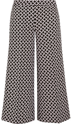 MICHAEL Michael Kors - Cropped Printed Stretch-crepe Culottes - Black $175 thestylecure.com