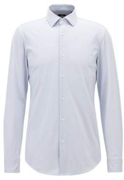 BOSS Hugo Slim-fit shirt in micro dobby performance stretch fabric 15 Blue