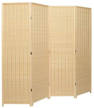 BEIGE MyGift Decorative Freestanding Woven Bamboo 4 Panel Hinged Privacy Screen Portable Folding Room Divider