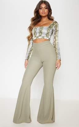 PrettyLittleThing Olive Rib Extreme Flare Trouser