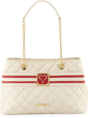 Love Moschino Quilted Napa Faux-Leather Shoulder Bag