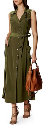 KAREN MILLEN Satin Safari-Style Shirt Dress $360 thestylecure.com