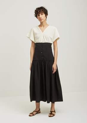 Black Crane Lantan Pleated Cotton Skirt