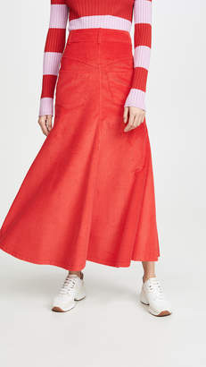 A.W.A.K.E. Mode Back to Front Red Corduroy Skirt