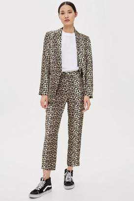 Topshop Womens Brown Leopard Suit Trousers