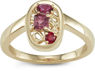 Parker Hi June Jewelry New York 14k Gold & Red Gemstone Tower Ring