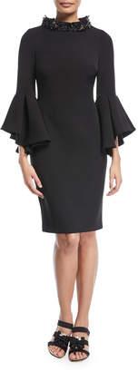 Badgley Mischka Beaded Mock-Neck Flare-Sleeve Cocktail Dress