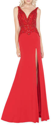 Mac Duggal Embellished Jersey Trumpet Gown with Thigh Slit