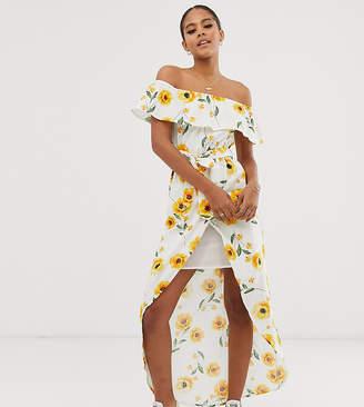 Bardot Influence Tall frill maxi dress in sunflower print