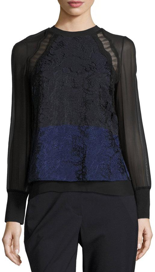 3.1 Phillip Lim Long-Sleeve Colorblock Lace & Chiffon Top, Medium Blue