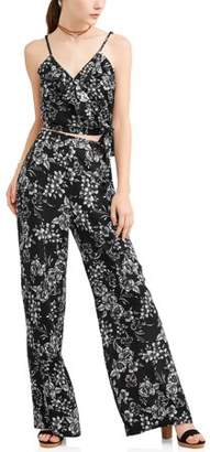 New Look Juniors' Floral Printed Ruffle Wrap Tank and Culottes Pants Set