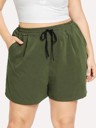 Shein Plus Drawstring Waist Slant Pocket Shorts
